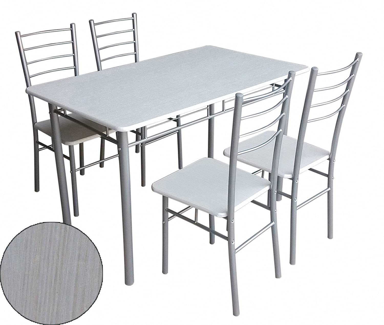 IKAYAA Set Tavolo e Sedie Arredo Metallo Pieghevole Cucina Tavolo da ...