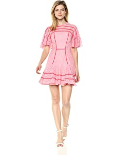 3eb9603d8c46 Keepsake The Label Women's Dreamers Short Sleeve Lace Ruffle Hem Mini Dress