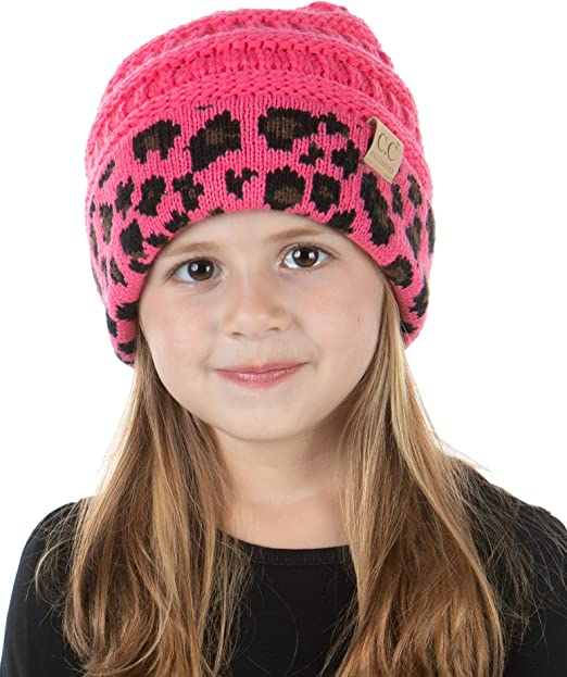 Funky Junque Girls Hat Kids Beanie Double Pom Faux Fur Soft Warm Winter Knit Cap