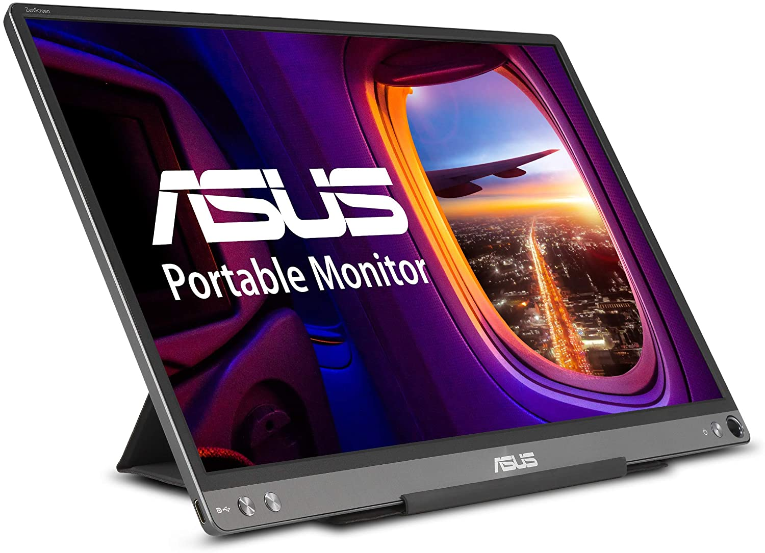 "ASUS ZenScreen MB16ACE 15.6"" Portable USB Type-C Monitor Full HD (1920 x 1080) IPSEye Care with Lite Smart Case External screen for laptop,Dark Gray"