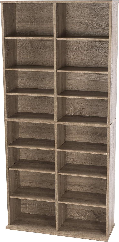 Atlantic Henley Adjustable Media Cabinet - Weather Oak, Holds 464 CDs, 228 DVDs or 276 Blu-Rays, 12 Adjustable and 4 Fixed Shelves PN38436252
