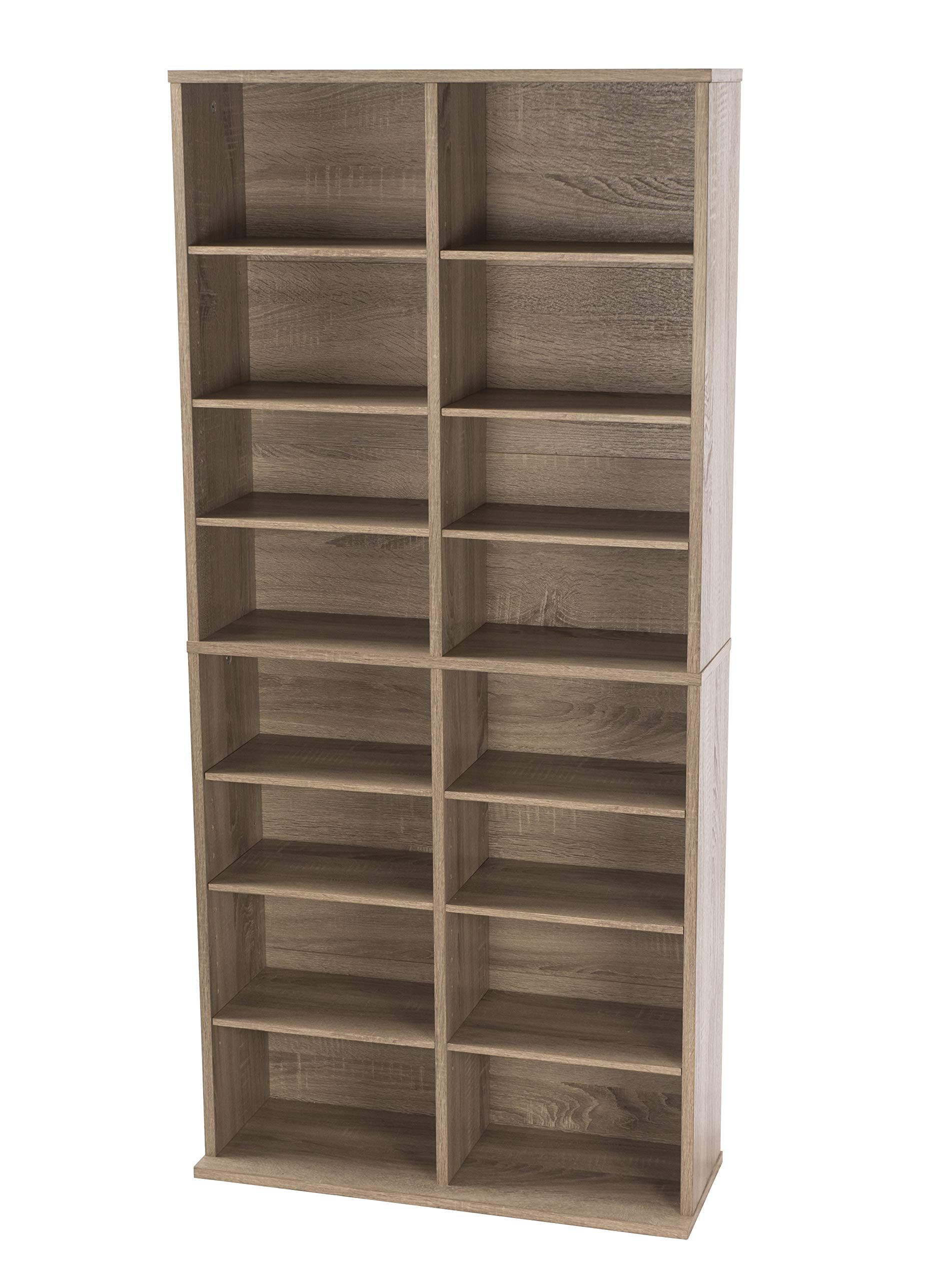Atlantic Henley Adjustable Media Cabinet - Weather Oak, Holds 464 CDs, 228 DVDs or 276 Blu-rays, 12 Adjustable and 4 fixed shelves PN38436252 by Atlantic