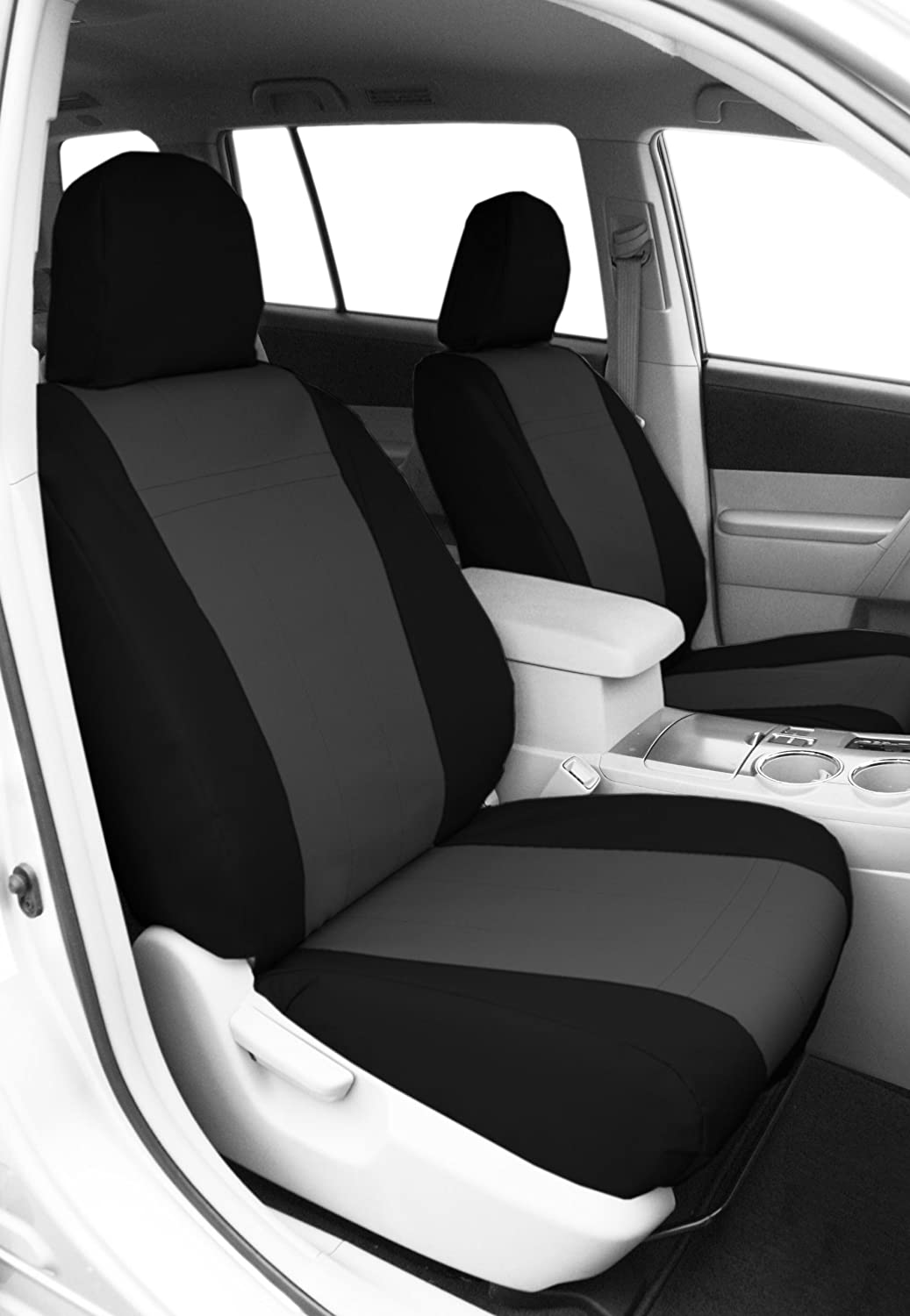 CalTrend Front Row Bucket Custom Fit Seat Cover for Select Chevrolet Silverado//GMC Sierra Models DuraPlus Light Grey