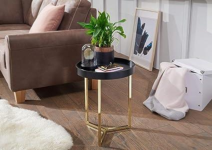 Wohnling Design Beistelltisch Eva 40x51x40cm Couchtisch Rund Schwarz/Matt  Gold   Designer Wohnzimmertisch modern   Kleiner Sofatisch mit  Metallgestell ...