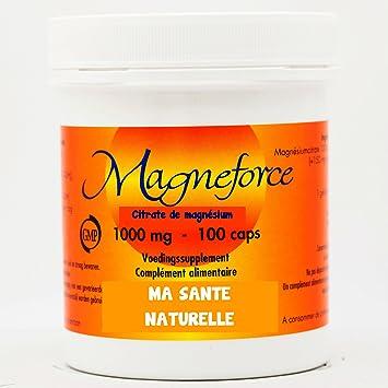 Magneforce - Citrato de magnesio 1000 mg, 100 cápsulas: Amazon.es: Salud y cuidado personal