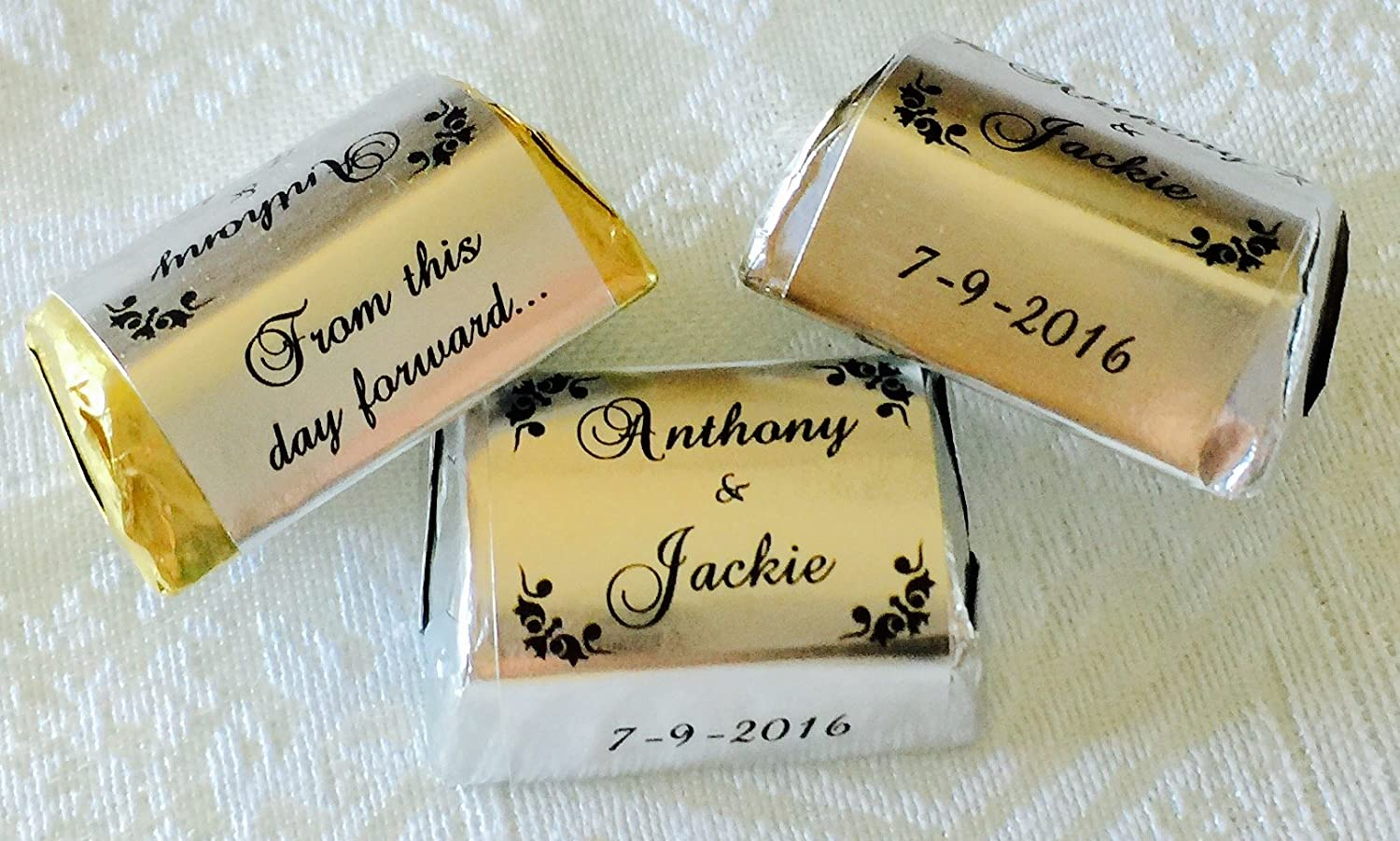 300 personalized silver foil scroll border wedding candy wrappers stickers labels for any party or event make your own chocolate favors using your hershey