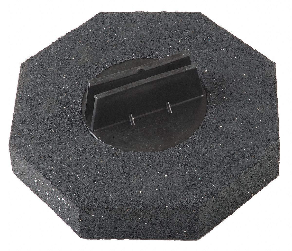 Barricade Weight, Black, 16'' x 16'' x 3'', 16 lb, Polypropylene/Rubber