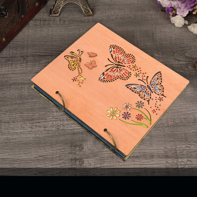 PETAFLOP Photo Album 4 x 6 Butterfly and Flowers Design 120 Photos Wooden Cover Photo Book by PETAFLOP (Image #3)