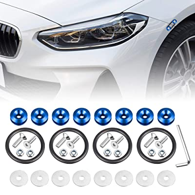 Enmoo 8Pcs Car Front Rear Bumper Quick Release Fasteners Washers Universal Aluminum Fasteners Washers Bolts Kit for Car Bumpers Trunk Fender Hatch Lids (Blue): Automotive