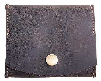 Monedero, Mini Monedero, cartera para monedas, monedero de fiesta, monedero para el pantalon 100% cuero, diseño aleman (Marrón): Amazon.es: Equipaje
