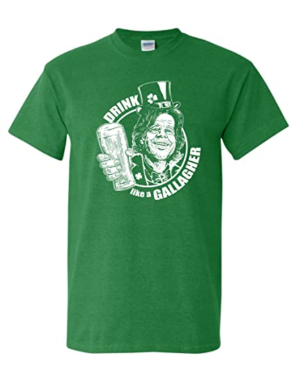 4f28ff90bf Amazon.com: St. Patrick's Day Drink Like a Gallagher Irish Funny Drinking T- Shirt: Clothing