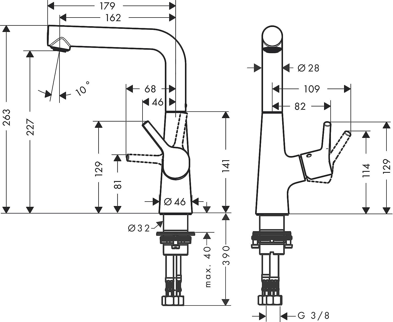 Argento Hansgrohe 72031000 Talis S Miscelatore Monocomando Lavabo 190