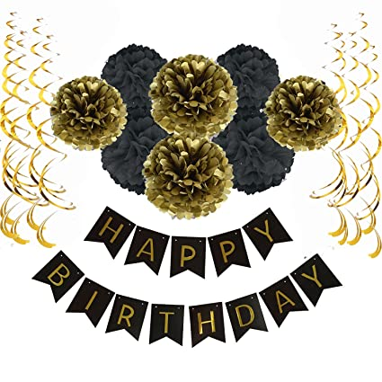 Sopeace Happy Birthday Banner Bunting With 8 Tissue Paper Pom Poms Flowers And 15 Hanging Swirl