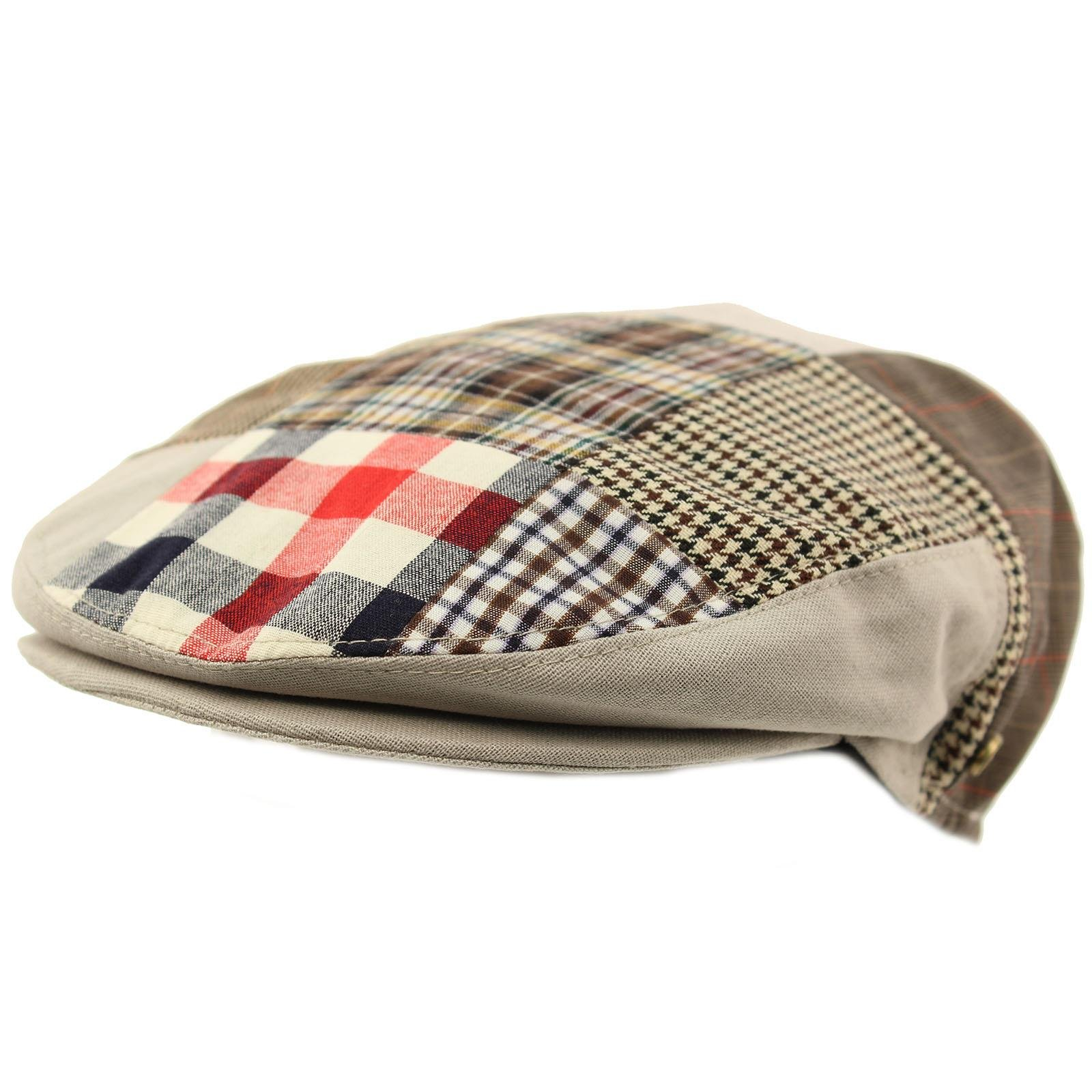 Men's Cotton 14 Patch Ivy Plaids Houndstooth Driver Cabby Flat Cap Hat Gray X-Large