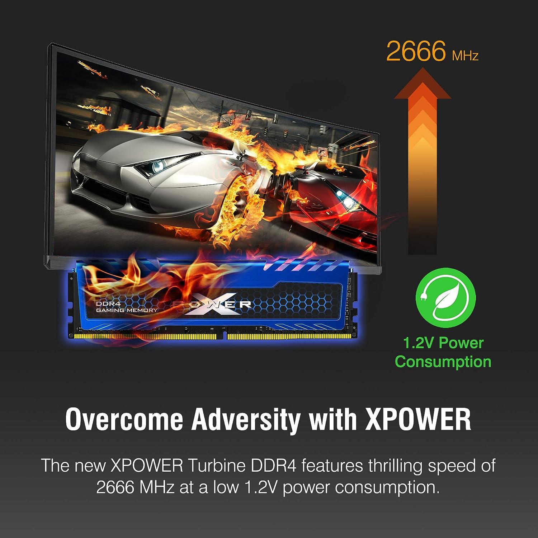 Silicon Power 16GB (8GBx2) XPOWER Turbine Gaming DDR4-RAM-2666MHz (PC4  21300) 288-pin CL16 1 2V Non ECC Unbuffered UDIMM-Desktop Memory Module -  Low