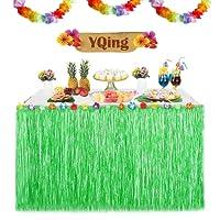 YQing Gonna Hawaiana da tavolo Luau 9.6ft Hawaiian Luau Hibiscus Gonna da tavolo in erba con 26 fiori di seta finto per barbecue Tropical Garden Beach Estate Tiki Decorazioni per feste