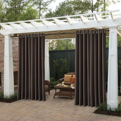 Outdoor Drapes For Patio.Cololeaf Porch Curtains Outdoor Waterproof Patio Garden Outdoor Curtain Exterior Shades Blinds Grommet Thremal Insulated Blackout Curtain Brown 84