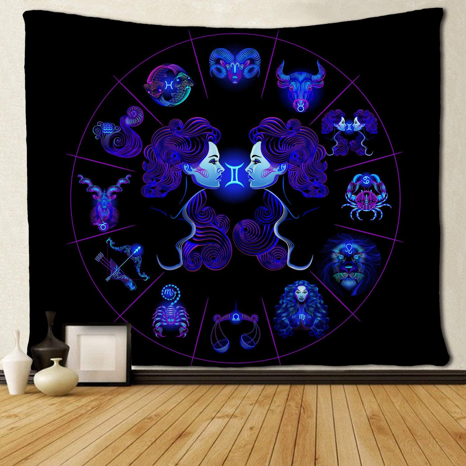 SARA NELL Tapestry Gemini Tapestries Hippie Art Wall Hanging Throw Tablecloth 50X60 Inches for Bedroom Living Room Dorm Room