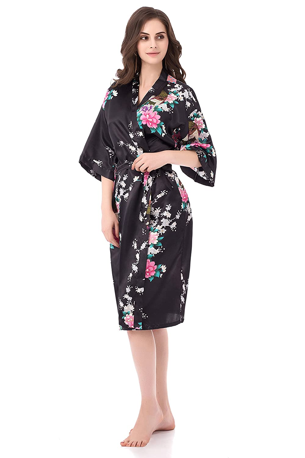 gusuqing Women s Printing Peacock Kimono Robe Short Sleeve Silk Bridal Robe   Amazon.ca  Clothing   Accessories fbdd07b6a