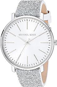 Michael Kors Women's Pyper Stainless Steel Quartz Watch with Leather Strap, White, 18 (Model: MK2877)