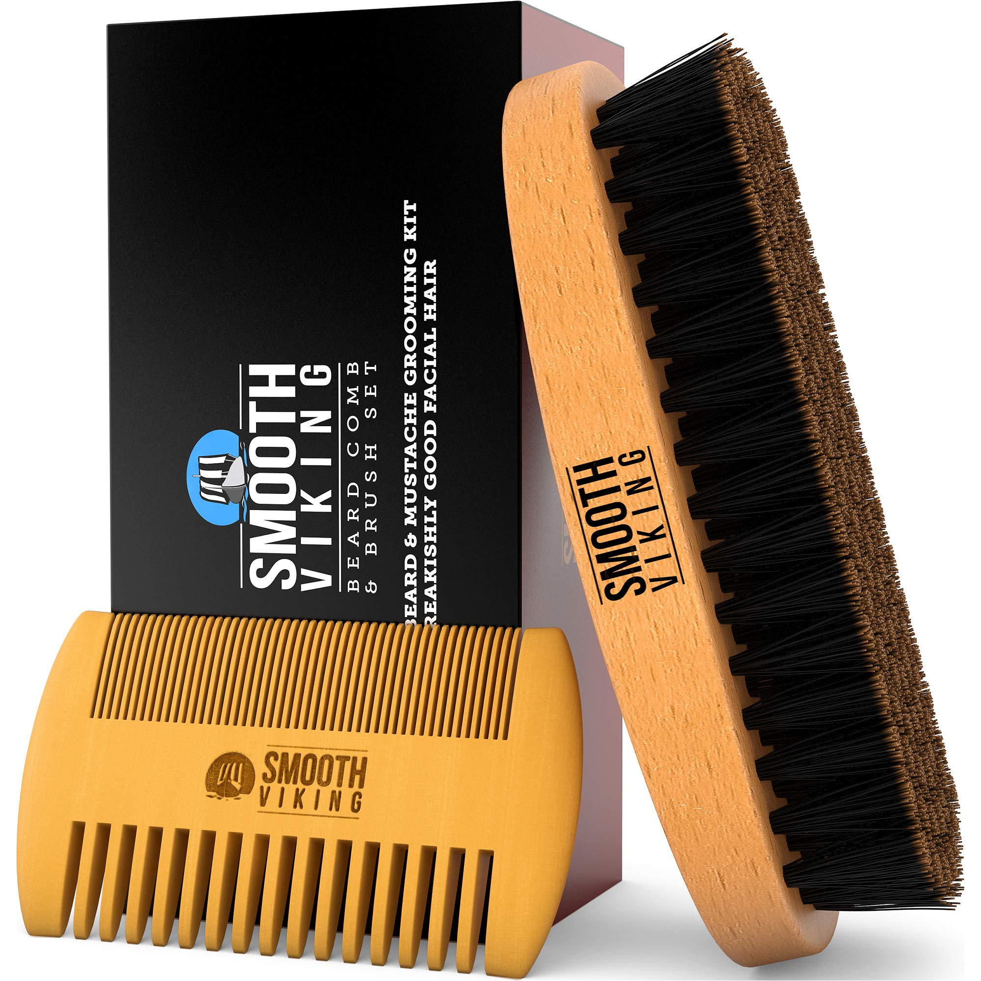 Beard Brush and Comb - Natural Boar Bristle Beard Brush & Wooden Grooming Comb - Facial Hair Care Gift Set for Men - Mustache Styling, Grooming & Shaping Tools