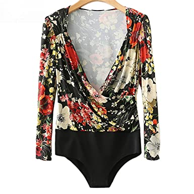 d5f791bbd464 Image Unavailable. Image not available for. Color  Feilongzaitianba Print  Sexy Bodysuit Deep V-Neck Long Sleeve Vintage Casual Romper Bodycon Playsuit  Women