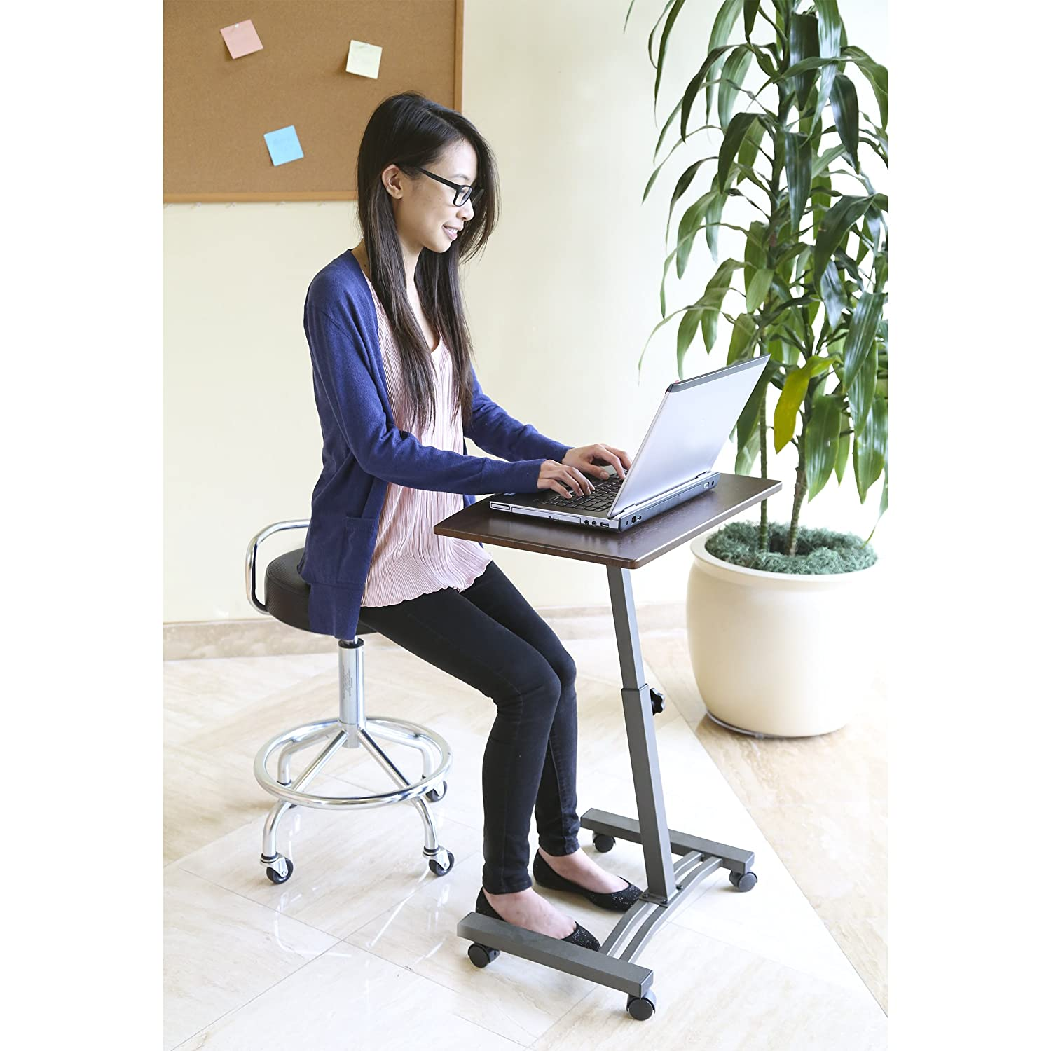 "Seville Classics 23.6"" Solid-Top Height Adjustable Mobile Laptop Desk Cart"