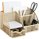 Designer Metal Gold Desk Organizer - Metal with Gold Finish - Gold Desk Accessories - Desk Organizer Gold - Storage for…