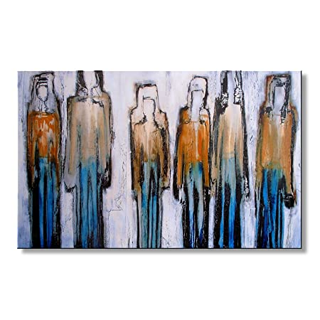 Modern Abstract Canvas Wall Art. Limited Edition, Hand Embellished Giclee on Canvas, 48 x 30 x 1.5 THE APPROACH Ready to Hang