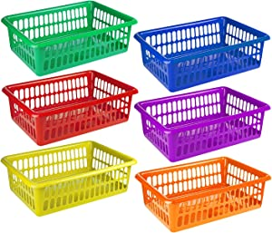 "Zilpoo 6 Pack - Plastic Colored Storage Baskets, Paper, Office Supplies, Toys and Teacher Student Classroom Organization Bins, 15"" x 10"", Colorful"