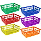 "6 Pack - Plastic Colorful Storage Baskets, Paper, Office Supplies, Toys and Teacher Student Classroom Organization Bins, 15"" x 10"", Assorted Colored"