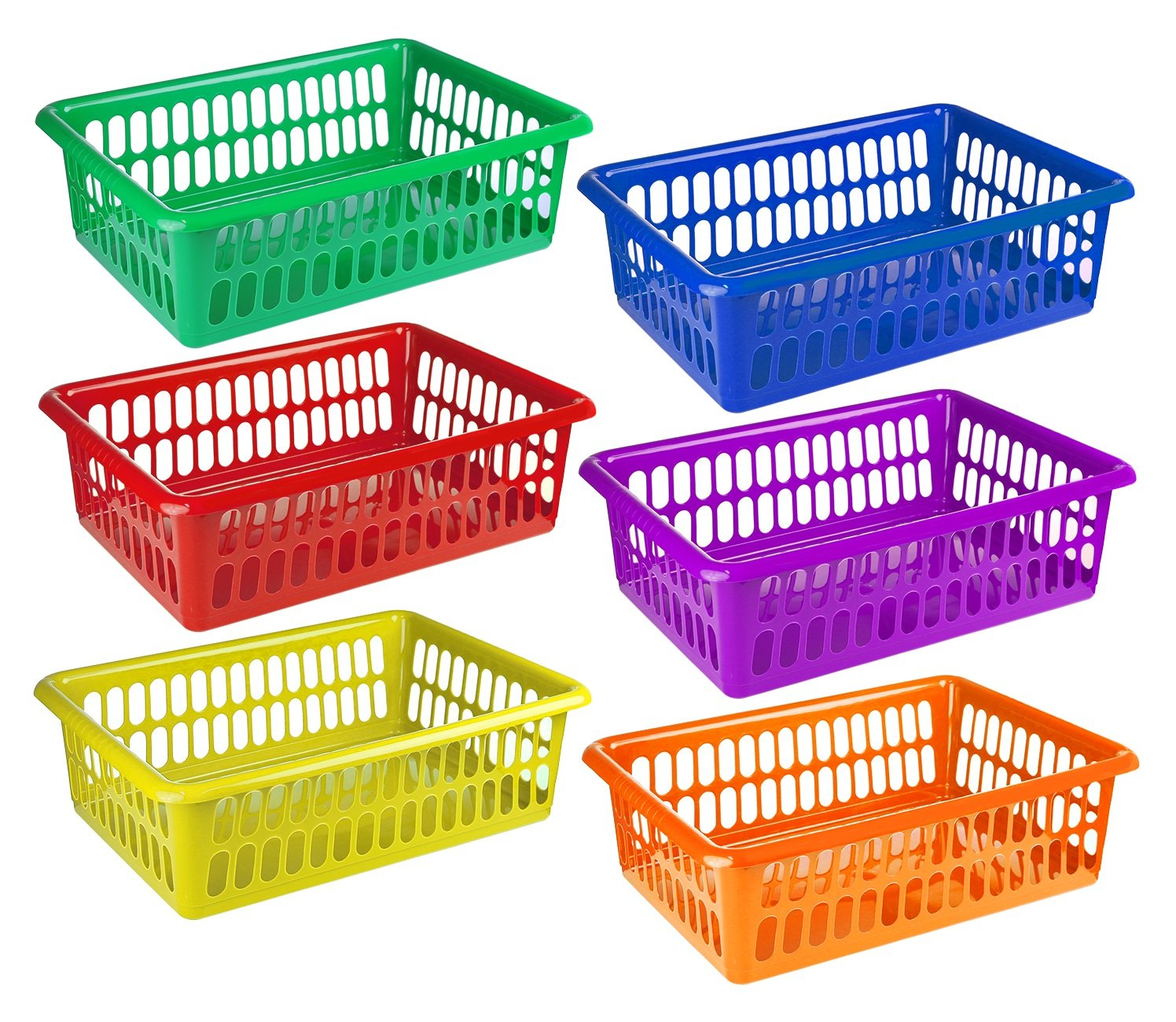 Zilpoo 6 Pack - Plastic Colorful Storage Baskets, Paper, Office Supplies, Toys and Teacher Student Classroom Organization Bins, 15'' x 10'', Assorted Colors