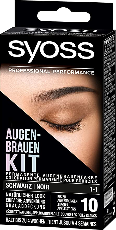 SYOSS Kit de cejas permanente color negro 1-1 para cejas, aspecto natural, 1 unidad (1 x 17 ml)