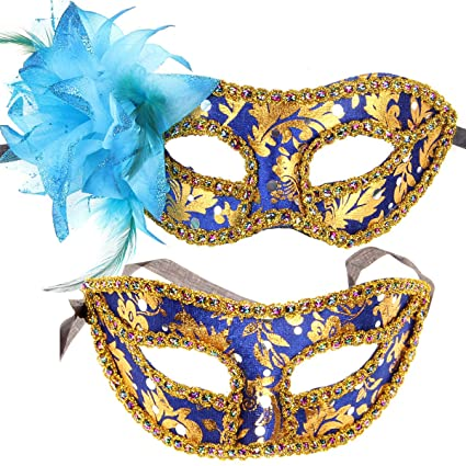 Couple Mardi Gras Venetian Masquerade Masks Set Pretty Party Evening Mesmerizing Masquerade Ball Prom Decorations