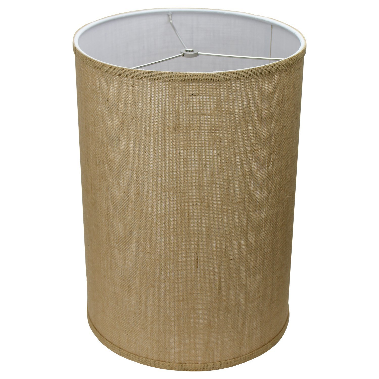 FenchelShades.com 12'' Diameter x 17'' Height Drum Lampshade Retro Rustic Vintage Hardback USA Made (Burlap Natural)