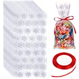 100 Pieces Cellophane Treat Bags Halloween Christmas Party Treat Bags Plastic OPP Candy Bags with Ribbon for Halloween…