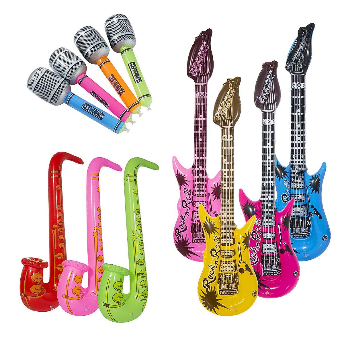 Vordas 12 Stück Aufblasbare Gitarre Musikalische Instrumente Spielzeug, 95cm Aufblasbare Gitarre - 70cm Aufblasbare Saxophon - 35cm Aufblasbare Mikrofone, Eine Schöne Stütze für Cosplay Parteien - (Zufällige Farbe)
