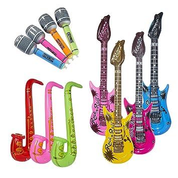 Vordas 12 Piezas Inflables Guitarra Saxofón Micrófono Globos Instrumentos Musicales Accesorios, Una Buena Propuesta para