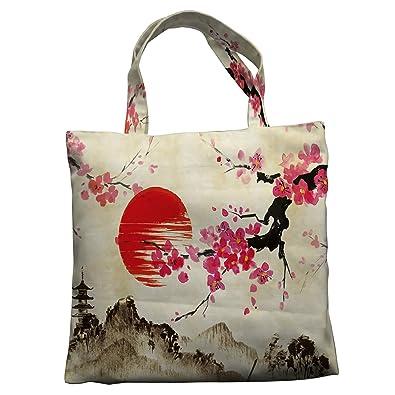 Amazon.com: Custom horizontal bolsa de lona, japonés sakura ...