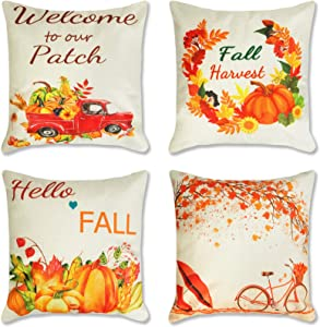 Ouddy 4Pcs Fall Throw Pillow Covers, Thanksgiving Pillow Covers 18x18 Autumn Pumpkin Holiday Rustic Harvest Theme Cushion Case for Sofa Home Farmhose Thanksgiving Decor