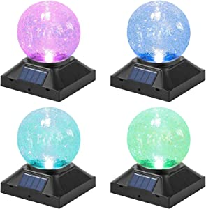 POWGDLT Solar Post Cap Lights Outdoor - Waterproof LED Fence Post Solar Lights for 3.5x3.5/4x4/5x5 Wood Posts in Patio, Deck or Garden Decoration Color Light 4 Pack………