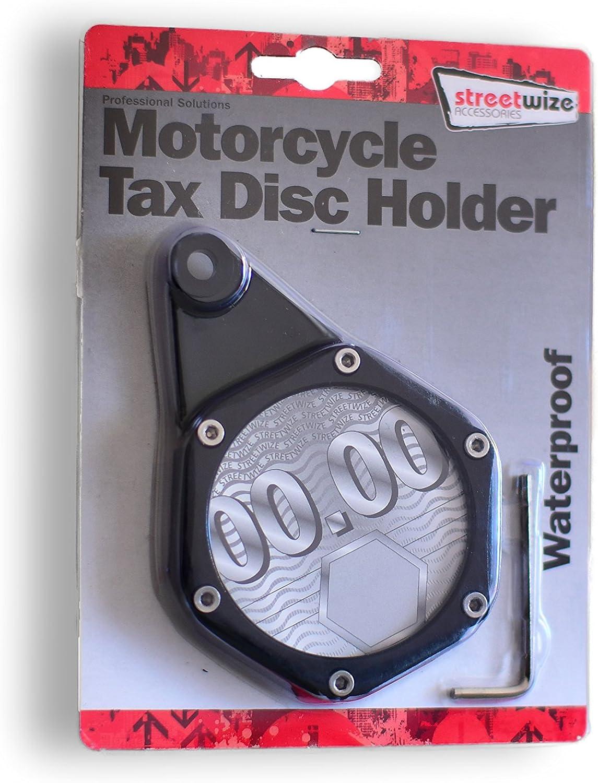 Tax Disc Holder Steuerplakettenhalterungen Parkkartenhalter Wasserdicht Verstärkt Rostfrei Aus Aluminium Gefertigt Schwarz Für Motorrad Roller Moped Quad Auto