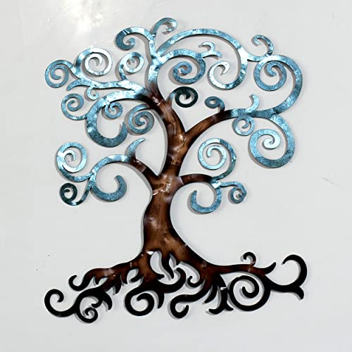 Decorlives Blue Tree of Life Medium Metal Wall Art Sculpture Home D cor Wal Hanging