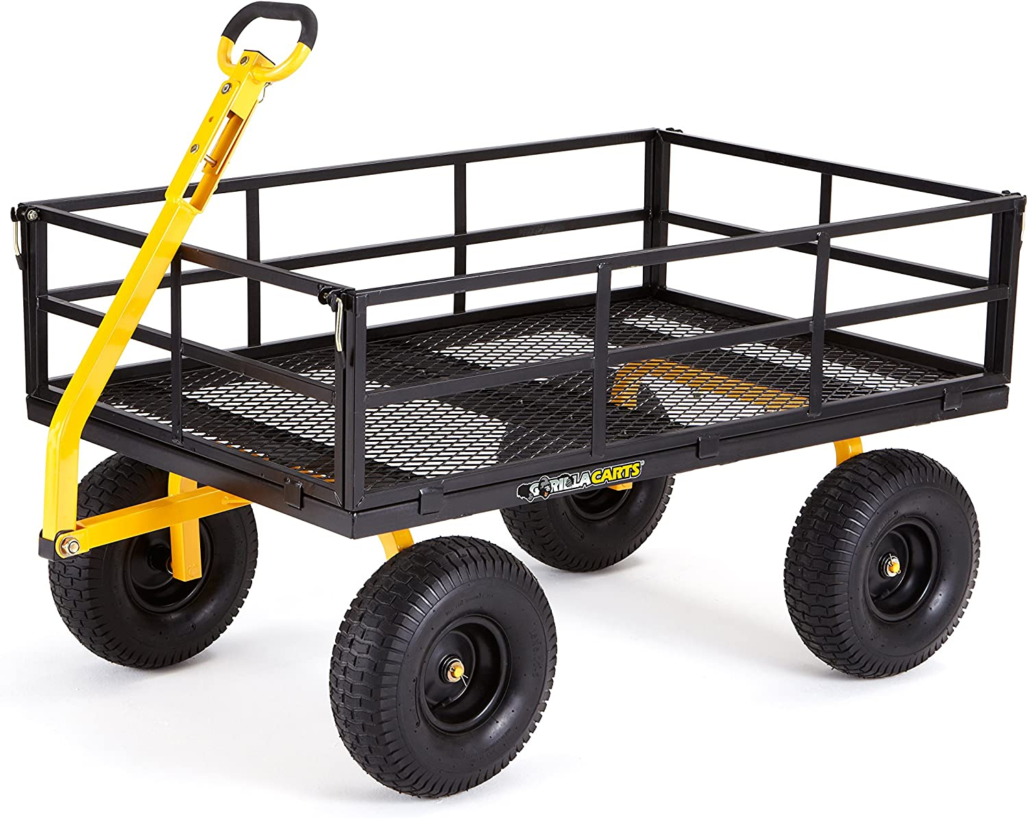 Gorilla Carts GOR1400-COM Heavy-Duty Steel Utility Cart with Removable Sides and 15 Tires, 1400-lbs. Capacity, Black