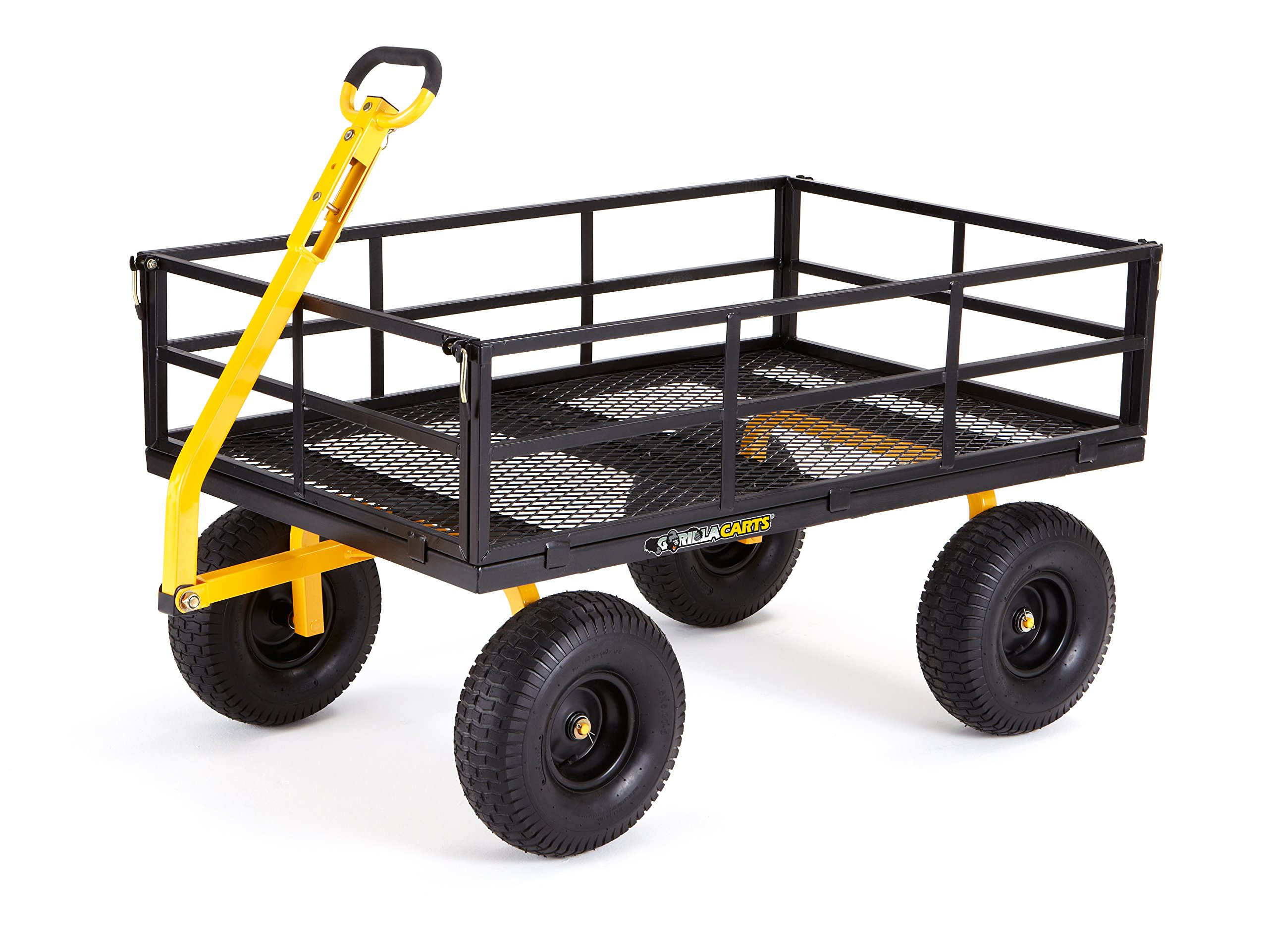 Gorilla Carts Heavy-Duty Steel Utility Cart with Removable Sides and 15'' Tires with 1400 lb Capacity, Black by Gorilla Carts