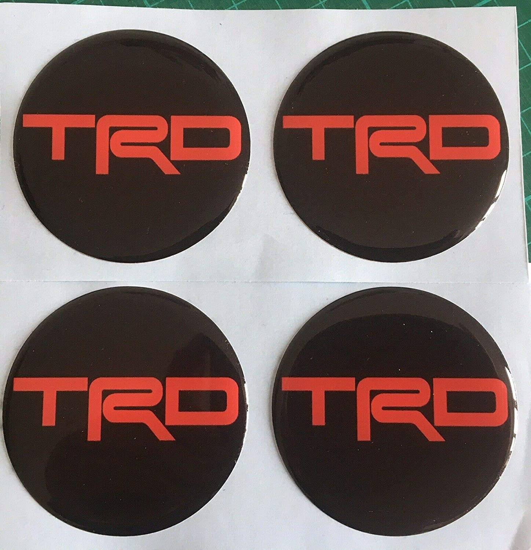 Confezione da 4 Scotoby Designs Colore: Nero e Rosso Adesivi per coprimozzo in Lega per Toyota TRD MR2