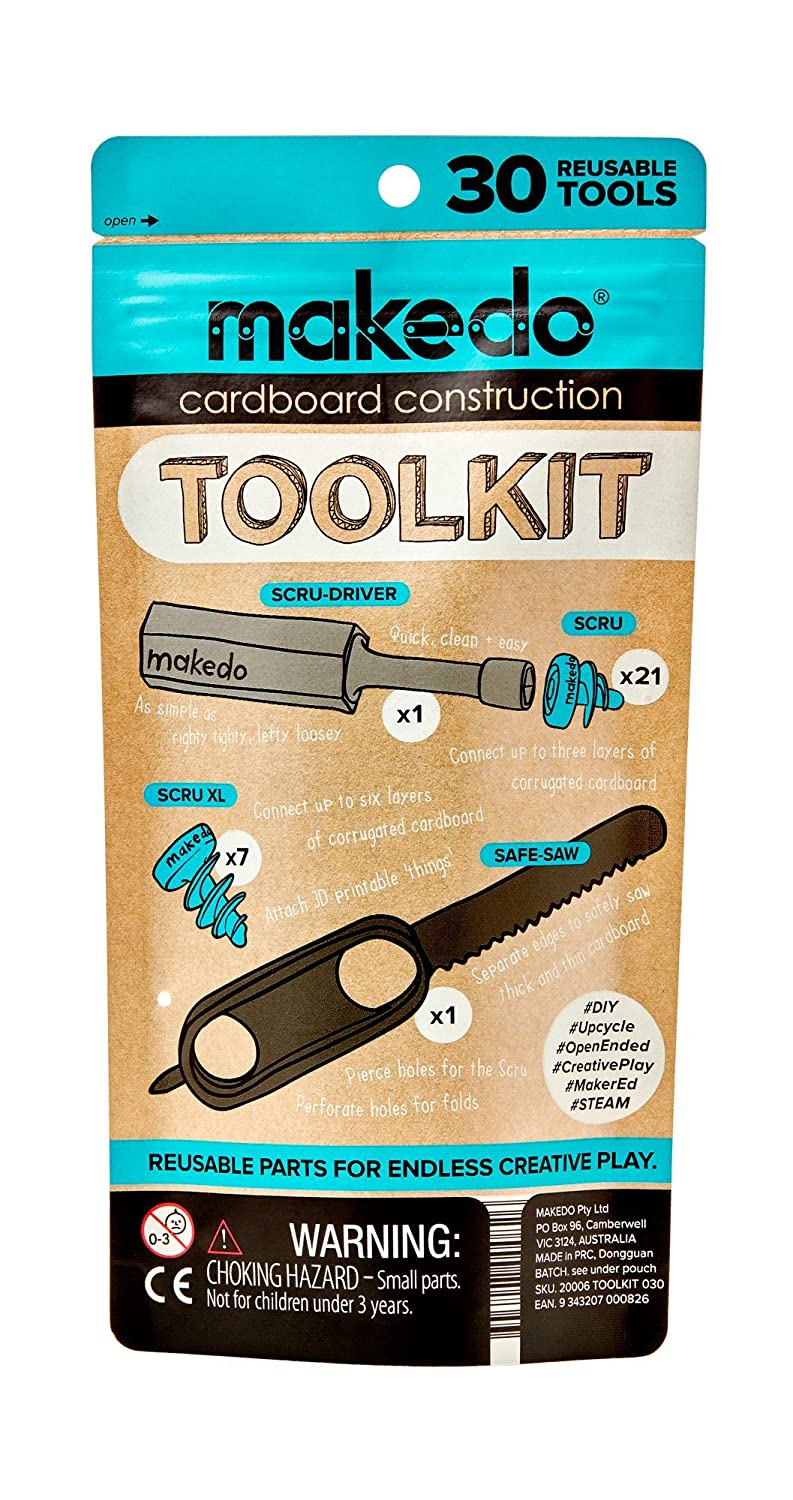 Makedo Cardboard Construction Toolkit – Perfect for In-Classroom STEM Learning and At-Home Play – Includes 30 Reusable Makedo Tools – Suitable for Children Age 4+