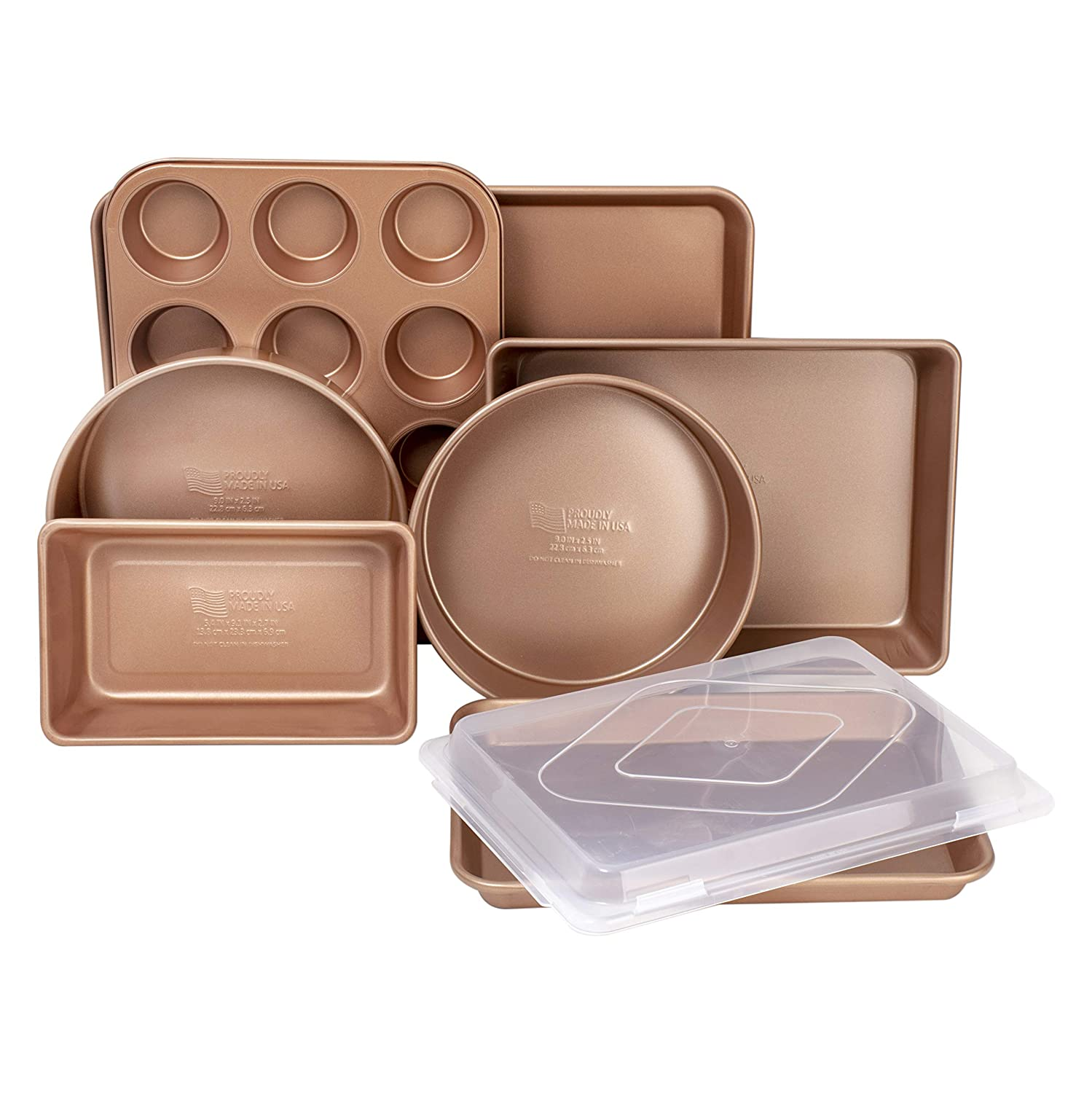 Family Traditions FT8PC Copper Non-Stick 8-Piece Bakeware Set-Includes Commercial Weight Cake, Sheet, Loaf, Muffin, Bake & Roast Pan, an, Large