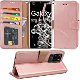 Arae Wallet Case for Samsung Galaxy S20 Ultra with Wrist Strap and Credit Card Holders - Rosegold