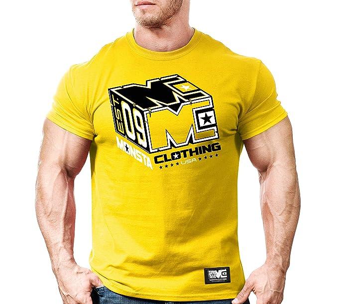 6121f468d796 Monsta Clothing Co. Men's Bodybuilding Workout (Monsta Cube) Gym T ...